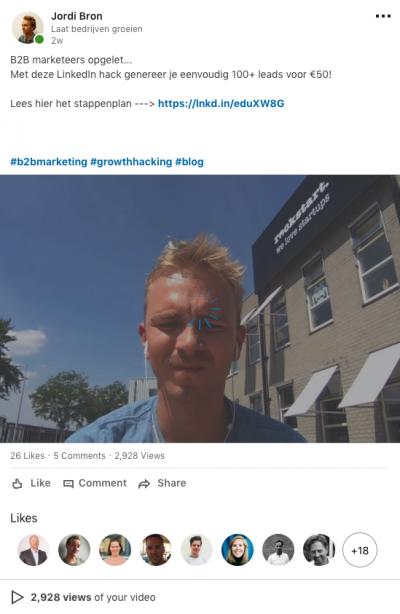 Video ter promotie van blogpost