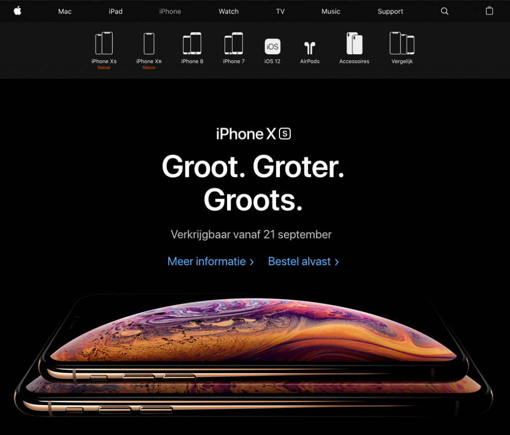 Apple Hero met Call to Action